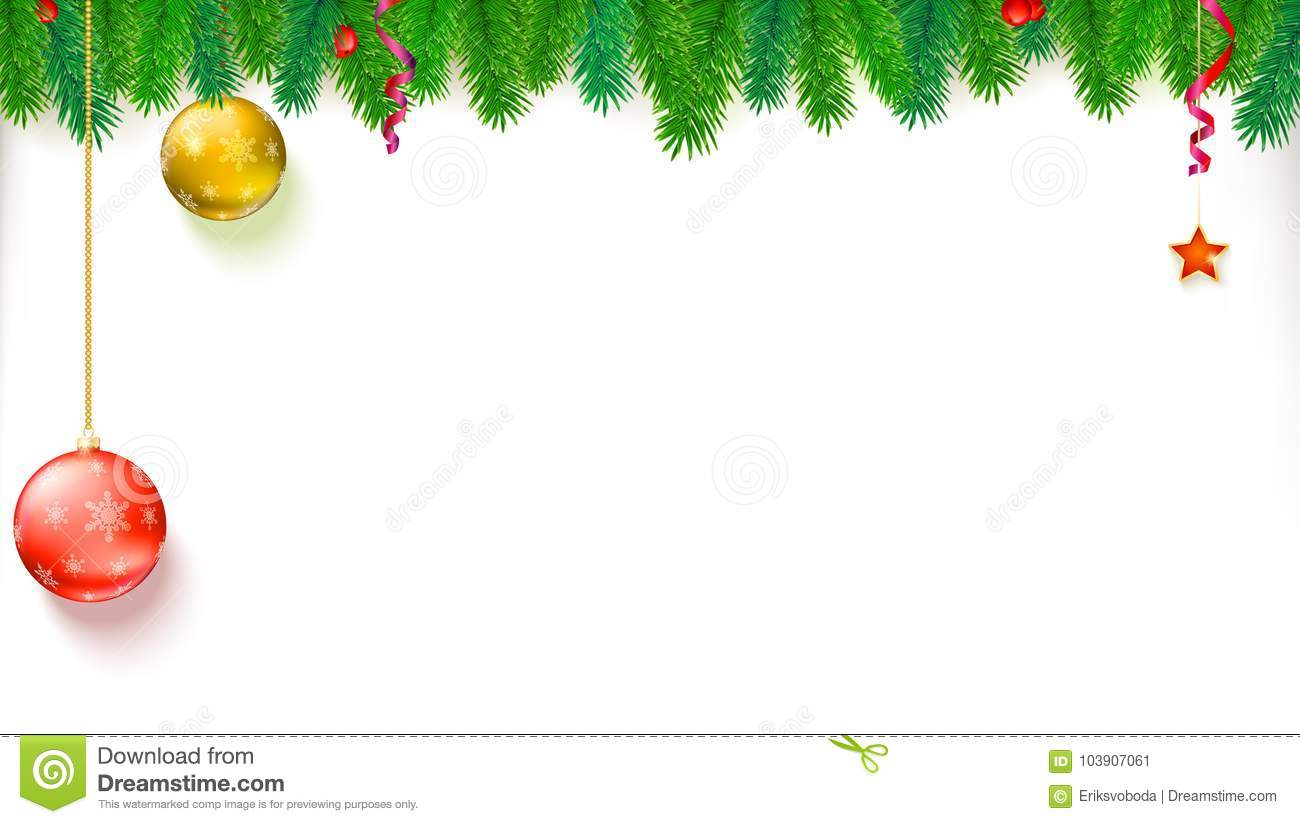 Christmas Blank Banner With Garland Of Fir Branches, Red Berries