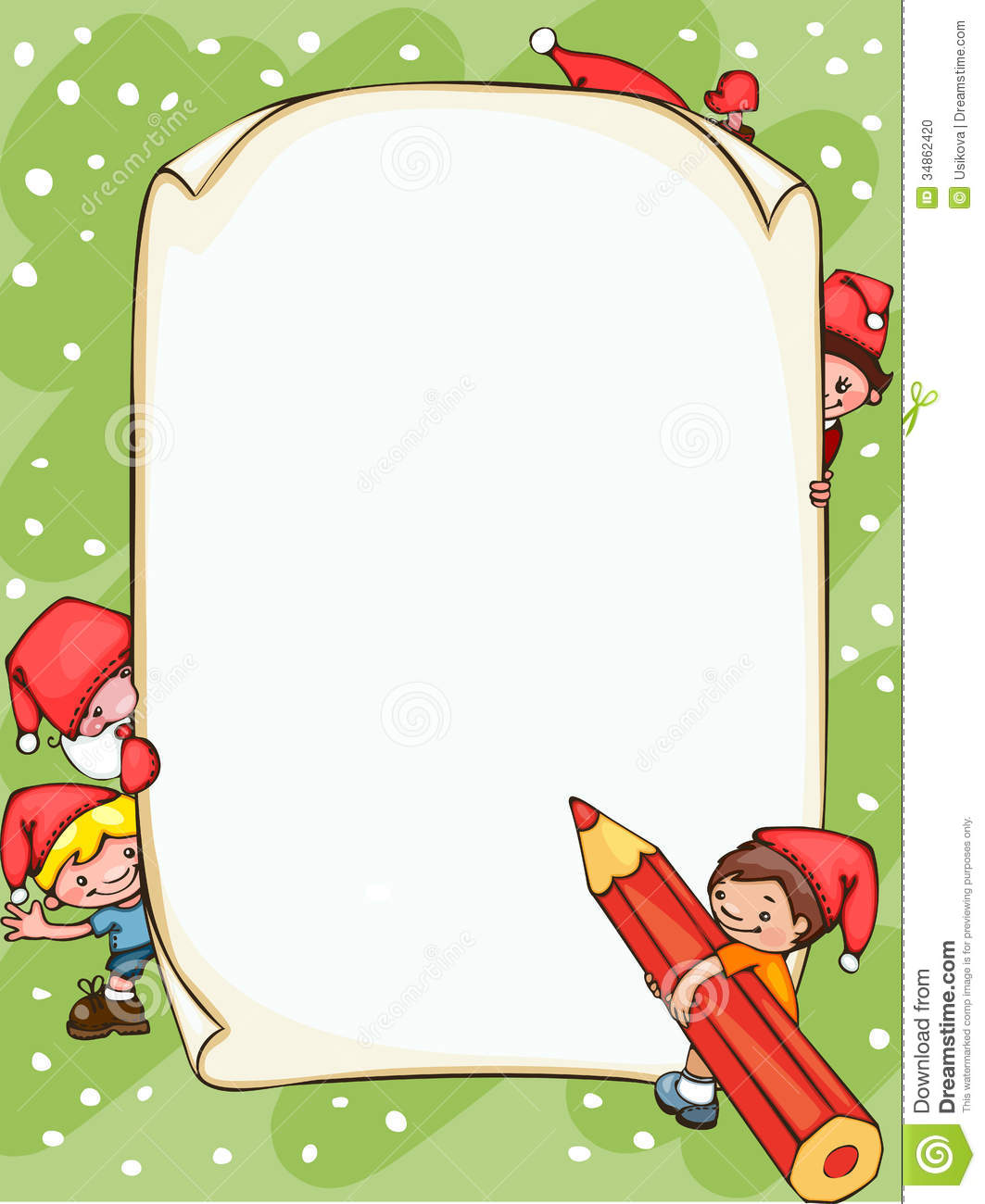 Christmas blank banner with Santa Claus and kids. Place for text.