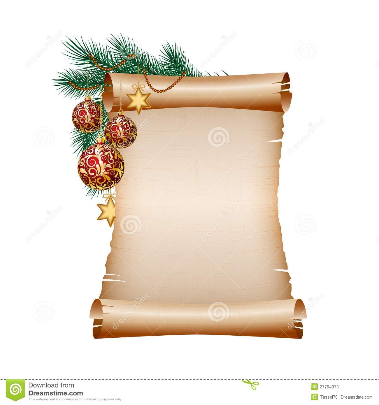 Christmas Blank Scroll Paper On White Background Stock Image ...
