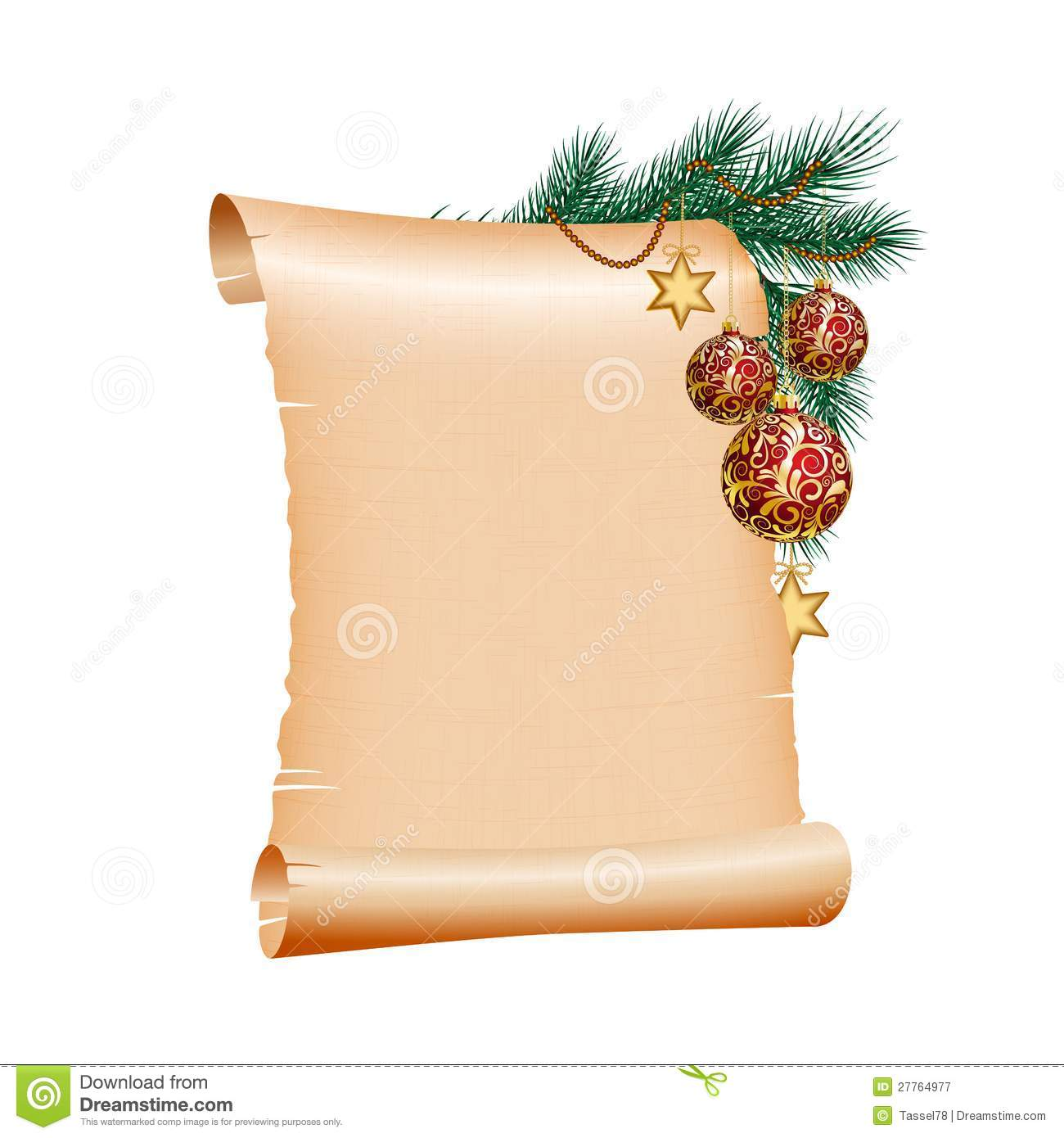 Christmas Blank Scroll Paper On White Background Stock