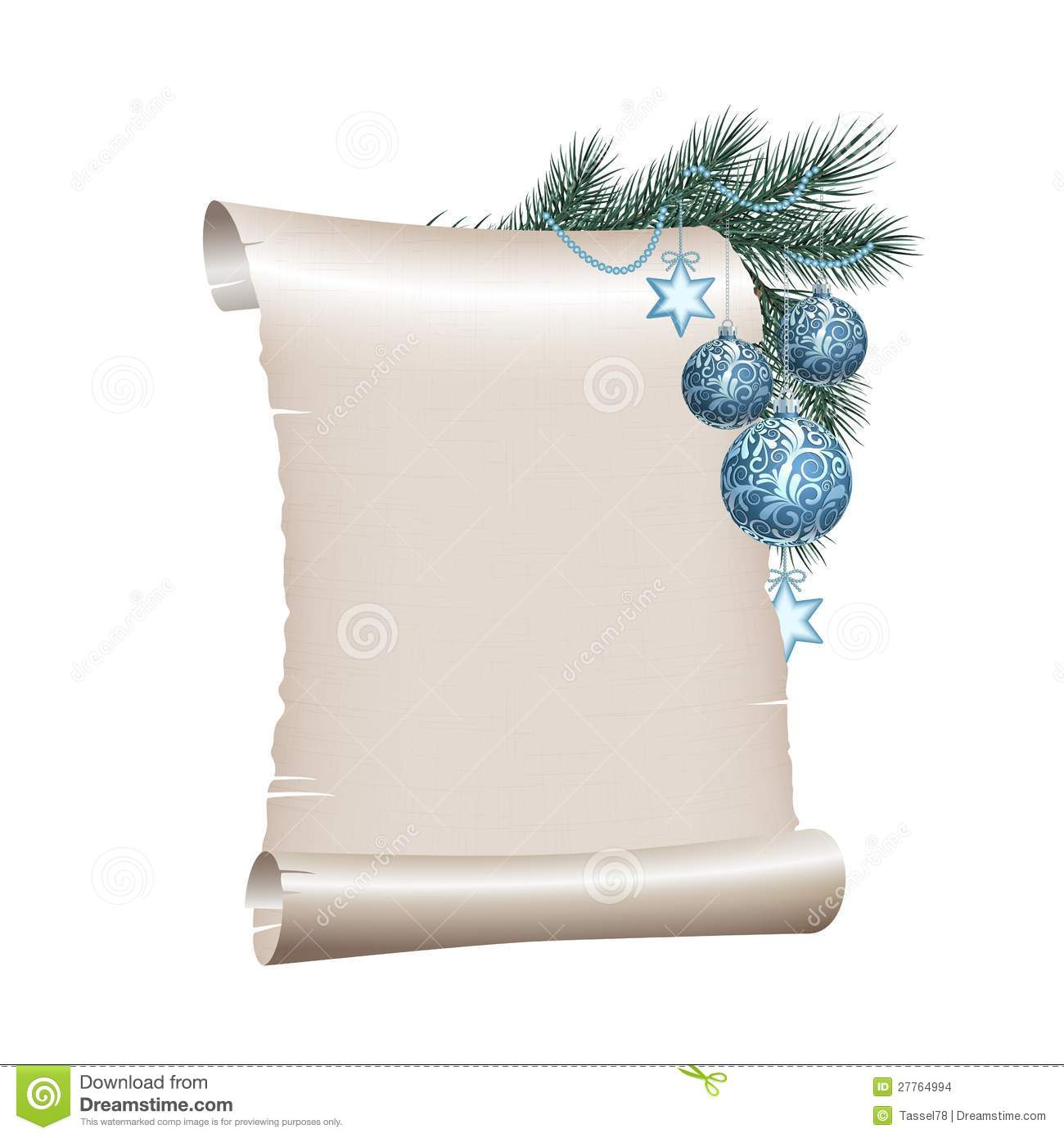 Christmas Blank Scroll Paper On White Background Stock ...