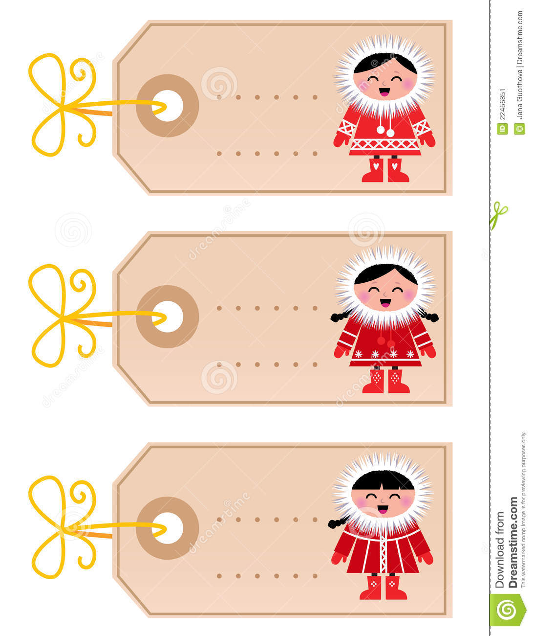 More similar stock images of ` Christmas blank tags with eskimo kids `