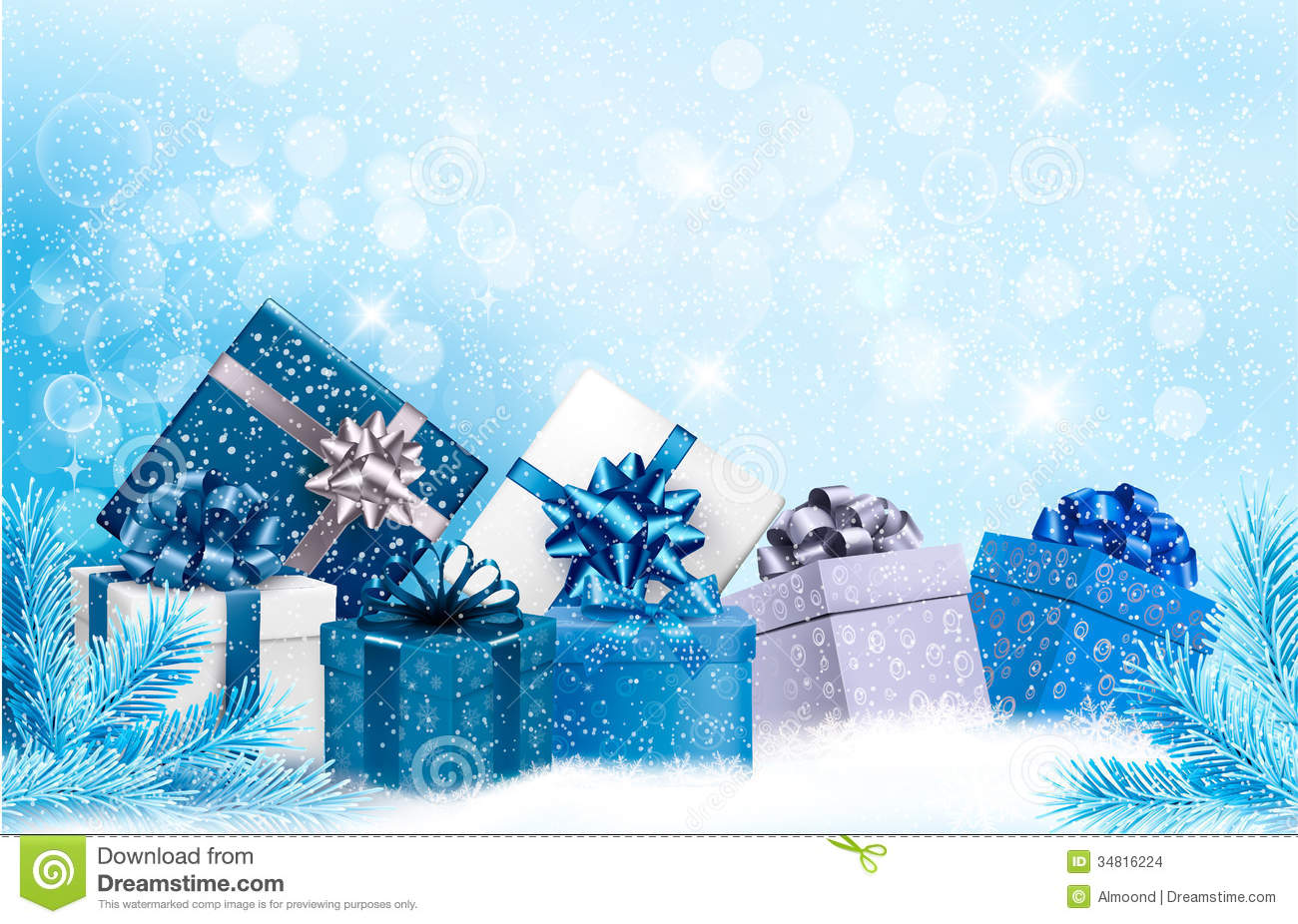 christmas blue background with gift boxes and snow stock