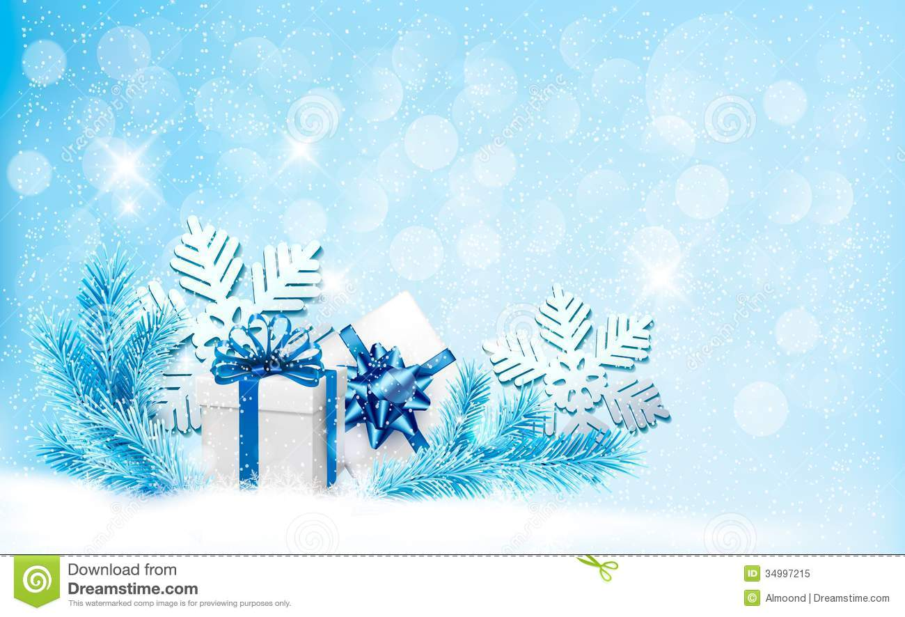christmas blue background with gift boxes and snow royalty