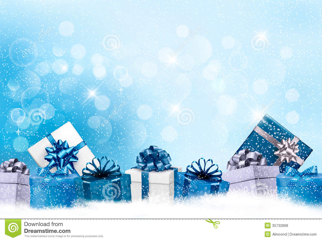 christmas blue background with gift boxes stock vector