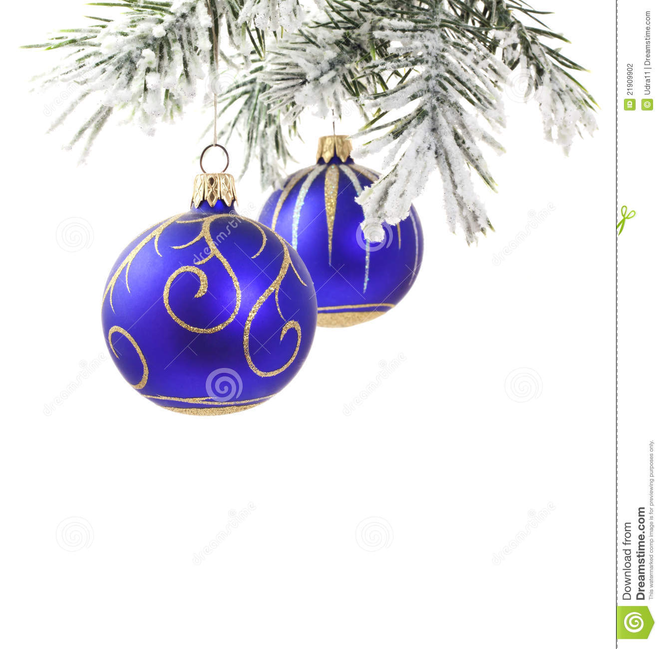 Christmas Blue Baubles And Tree Stock Photography Image