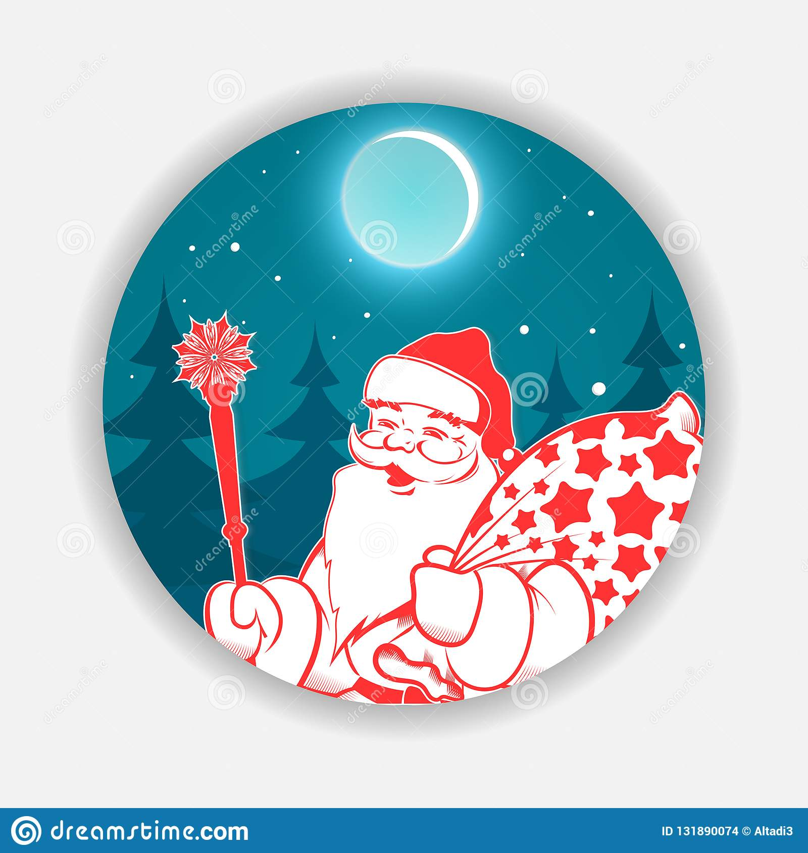 Christmas blue round sign with a pattern of Santa Claus with a staff and a bag. Design element stock images