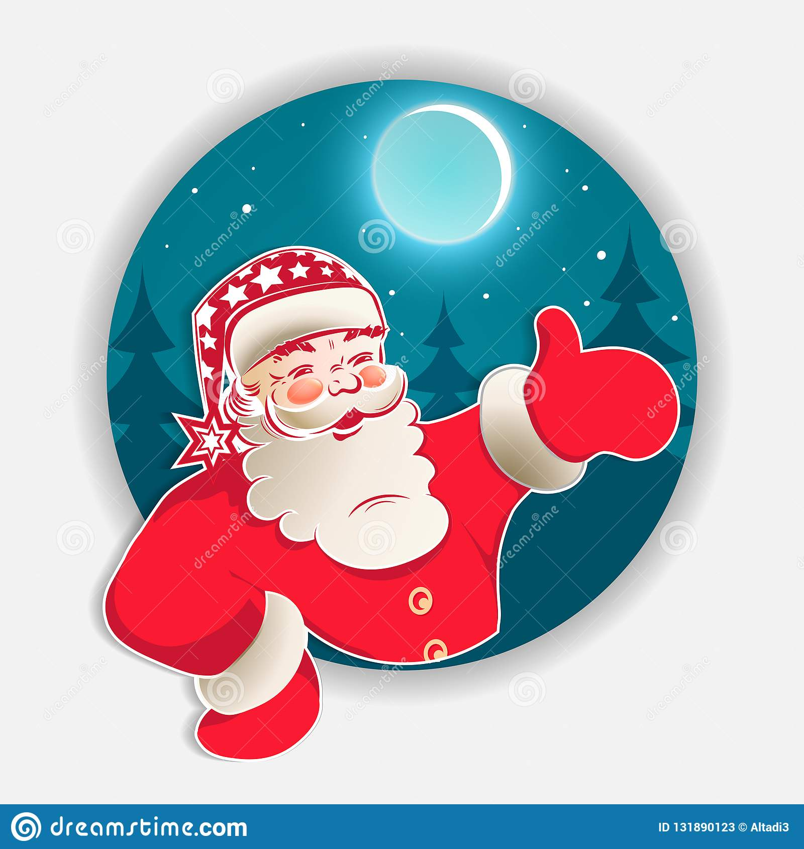 Christmas blue round sign with Christmas trees and Santa Claus pattern. Design element stock photos