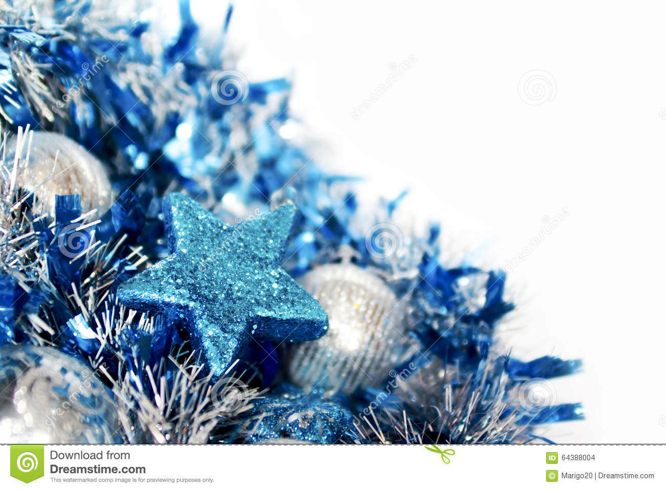 Christmas Blue And Silver Decorations Stock Photo Image