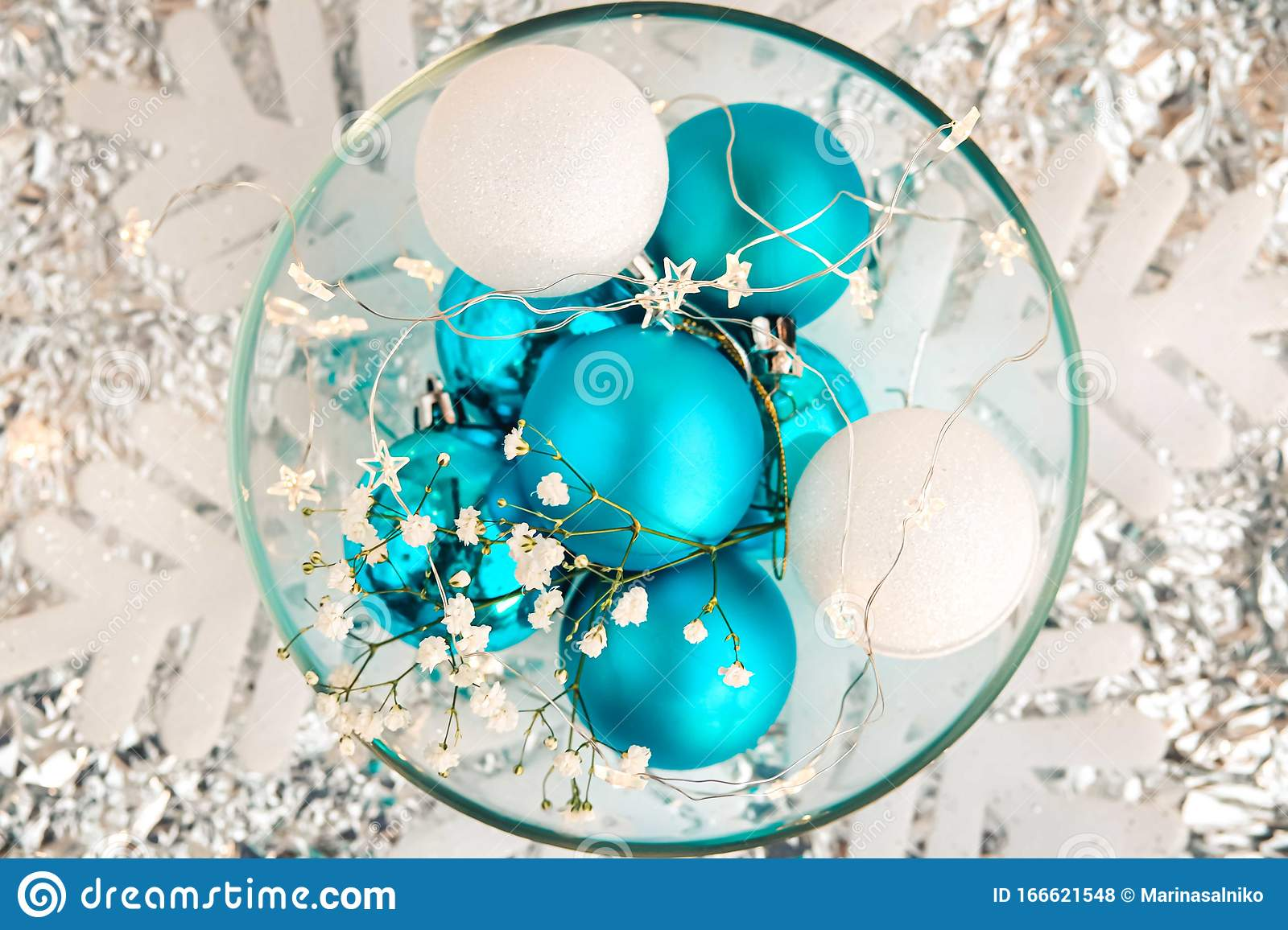 Christmas Blue And White Background Stock Photo Image Of Flower Bokeh 166621548