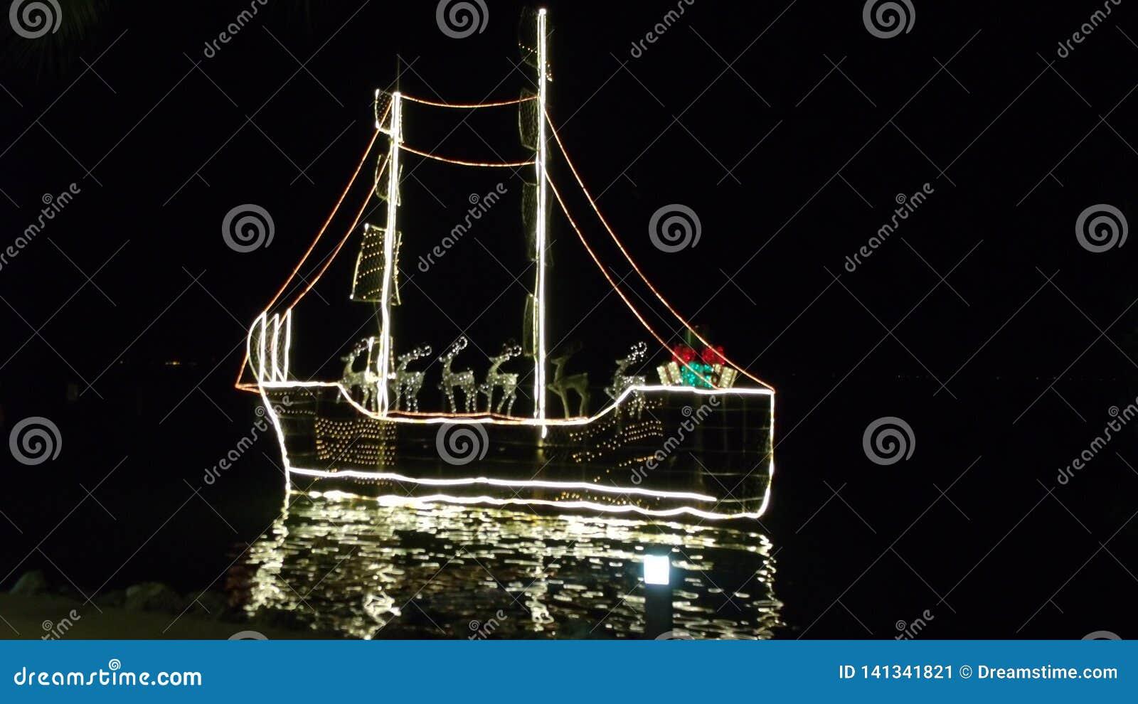 Christmas boat decorating beach