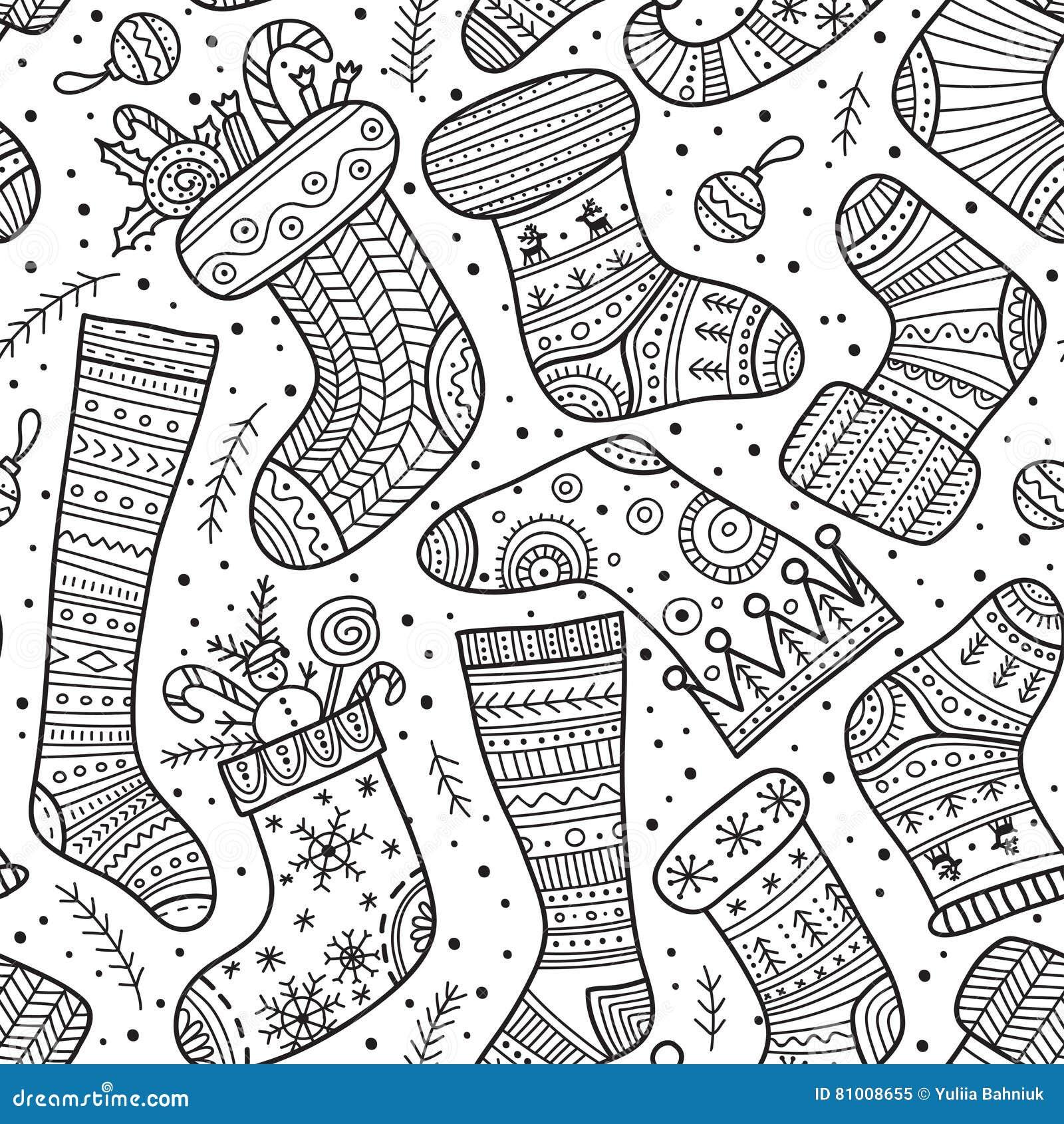 christmas boho socks seamless pattern