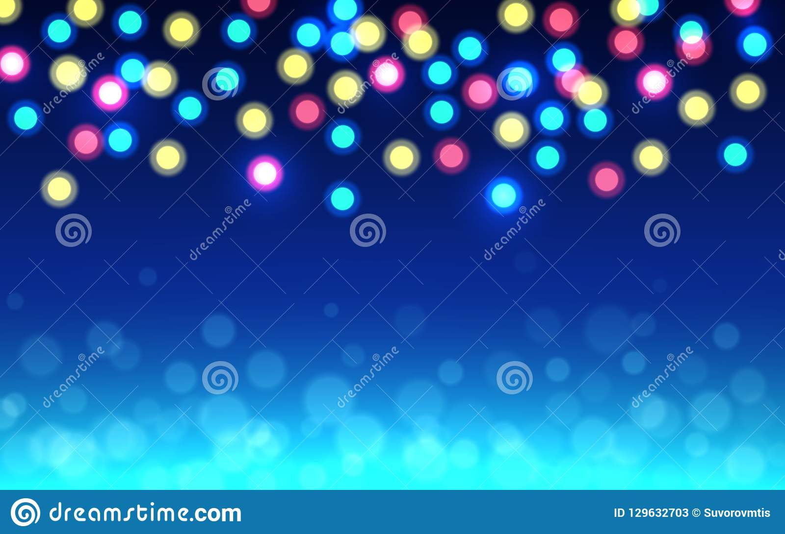 Christmas bokeh background. Color defocused lights on blue backdrop. Abstract shining circles. Unfocused soft glow