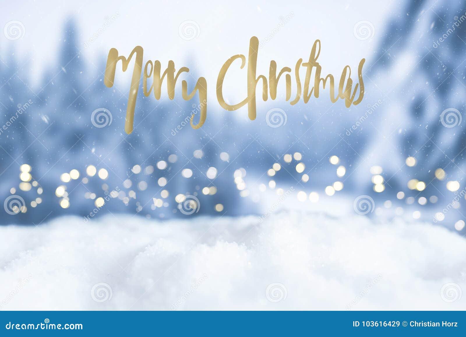 Christmas Bokeh Greeting Card With Merry Christmas Greeting Words