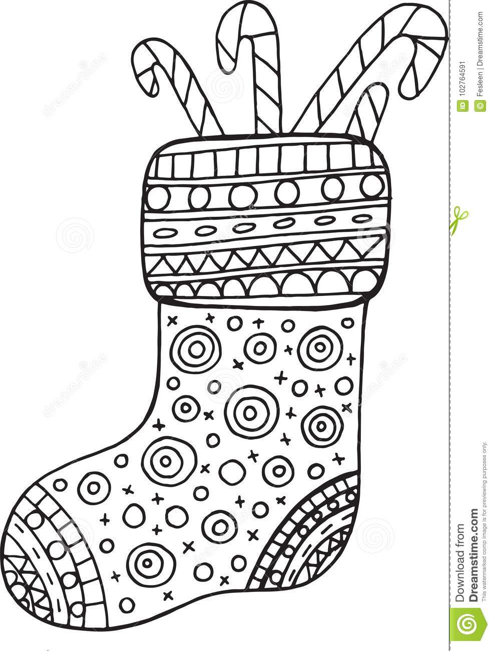 Christmas Boot Coloring Page For Adults And Kids Vector Stock