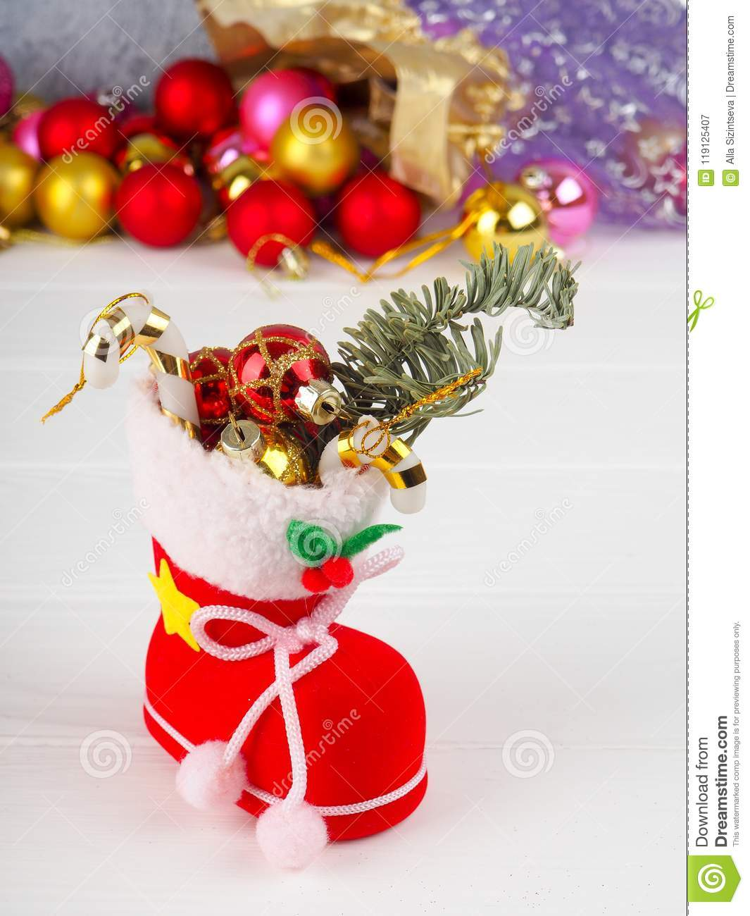 Christmas Boot Stocking Filled Gifts Sprig Christmas Tree Holly And