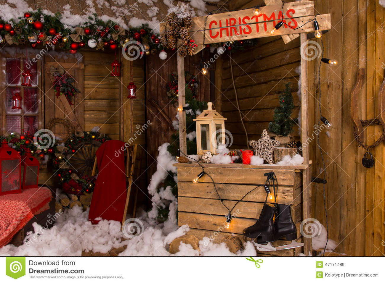 Christmas booth inside a wooden house stock photo image for Inside of houses decorated for christmas