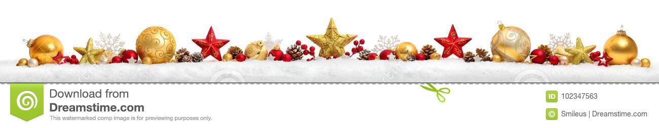 Christmas border or banner with stars and baubles, white backgro
