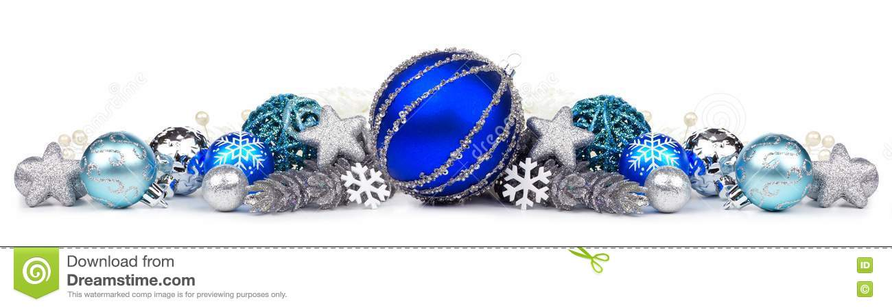 Christmas border of blue and silver ornaments over white