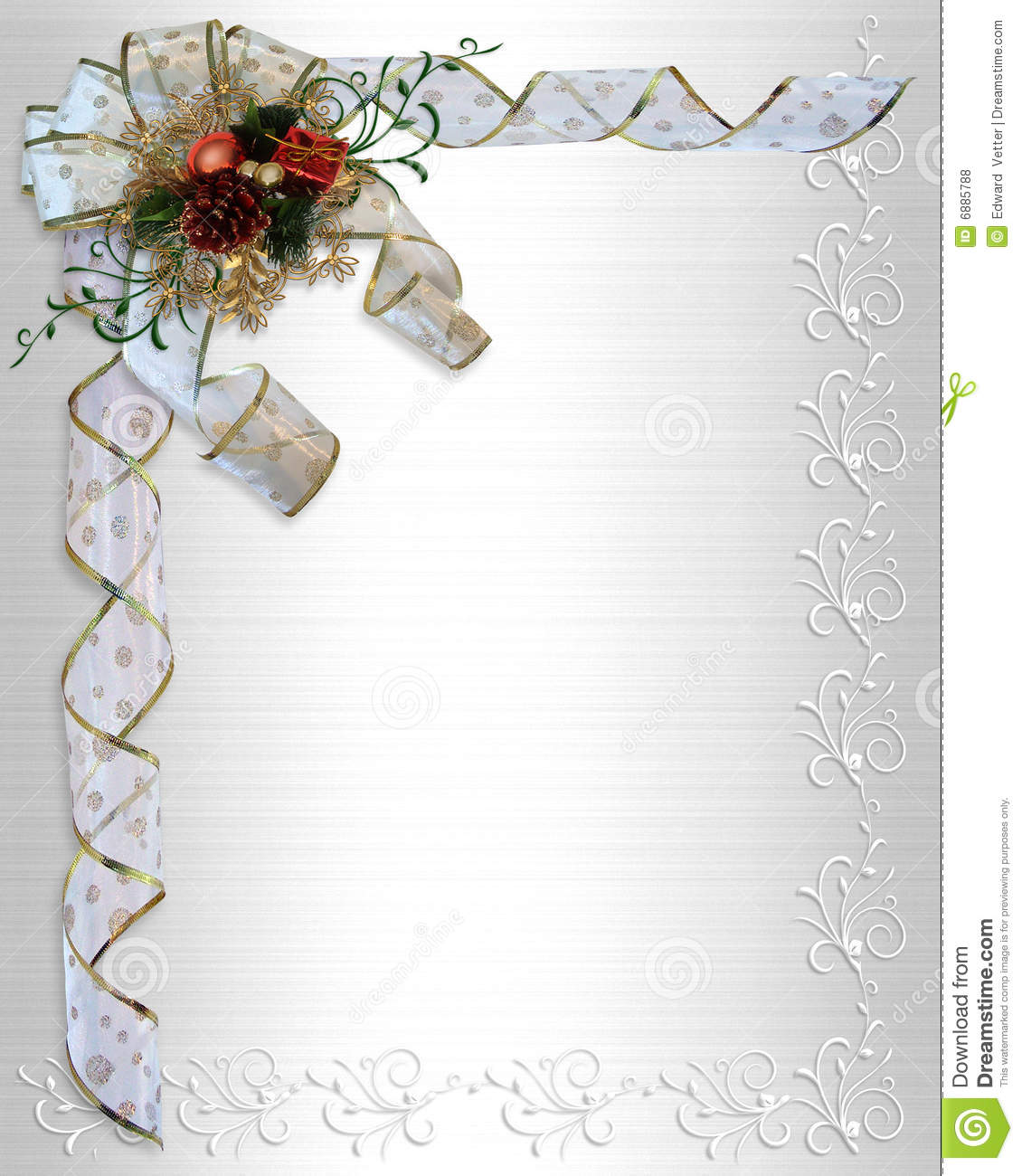 Image and illustration Composition Christmas design ribbons and bow on ...