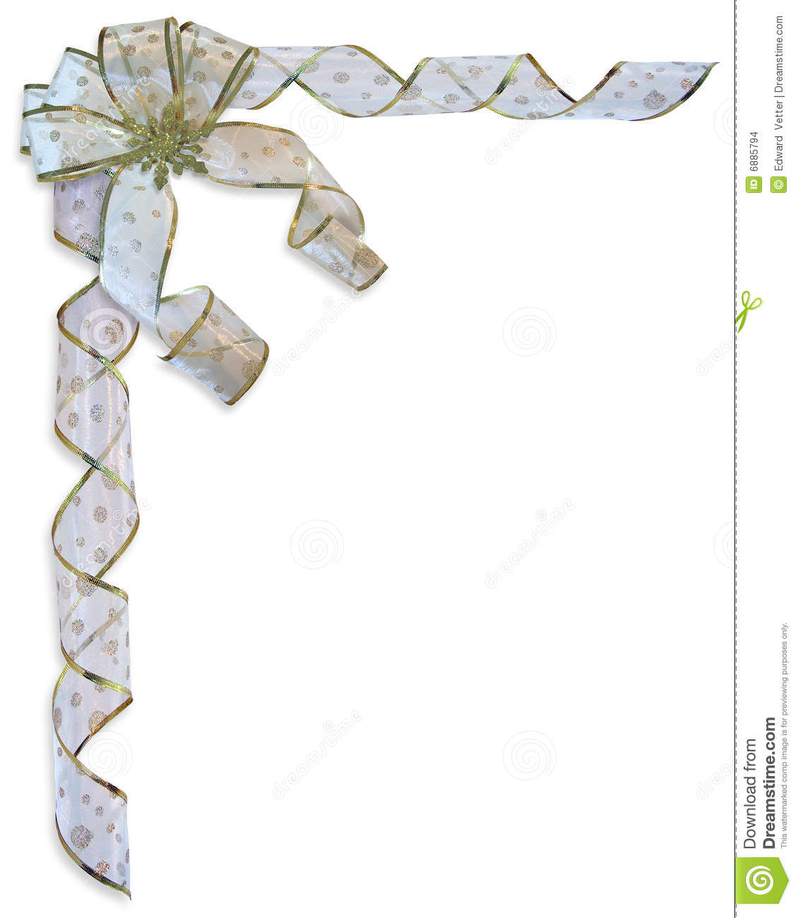 Christmas Border Bow And Ribbons Isolated Stock Images - Image ...