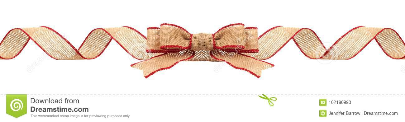Christmas Border With Burlap Ribbon With Red Trim Isolated Stock ...