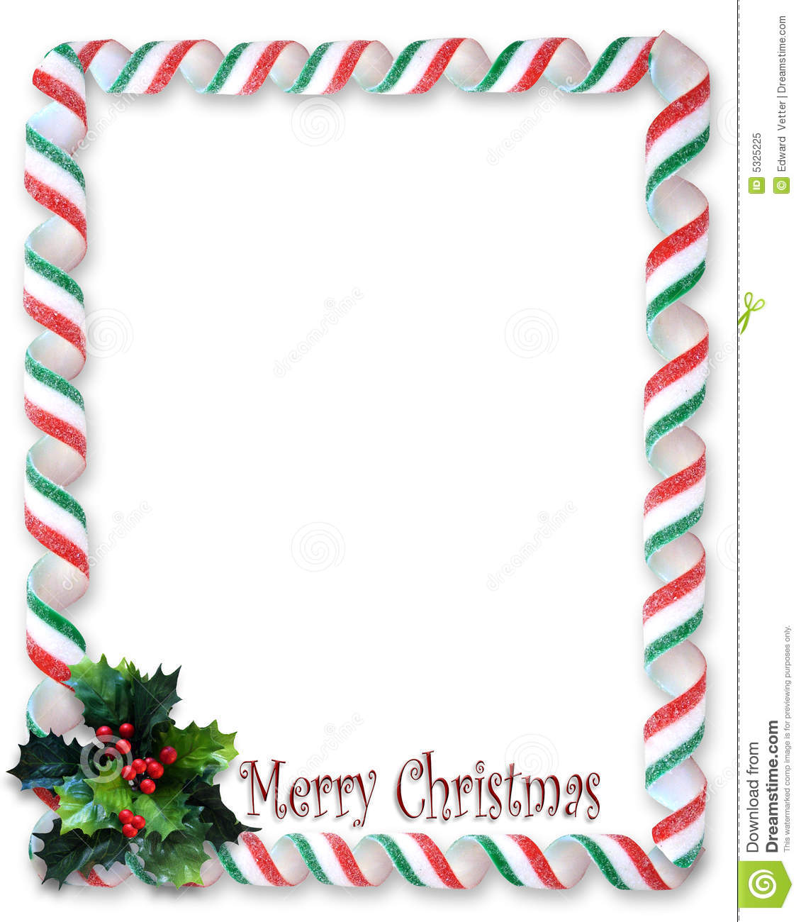 Christmas border candy ribbon and holly frame stock
