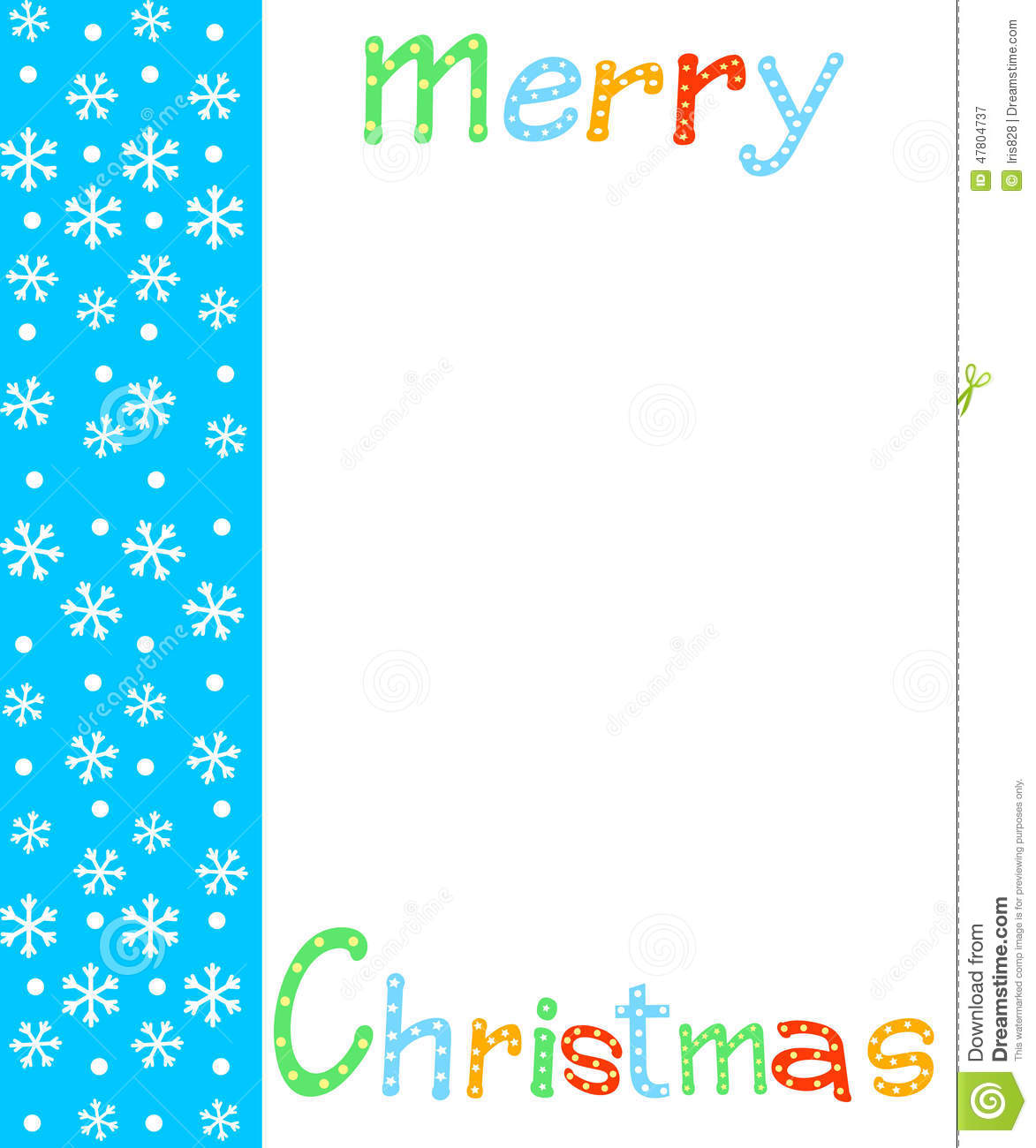 Christmas,border, card. letter and snowflakes on a white and blue ...