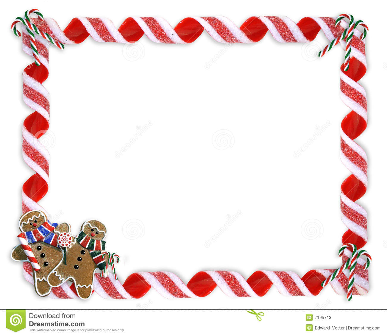 Christmas Border Cookies And Candy Stock Photos - Image: 7195713
