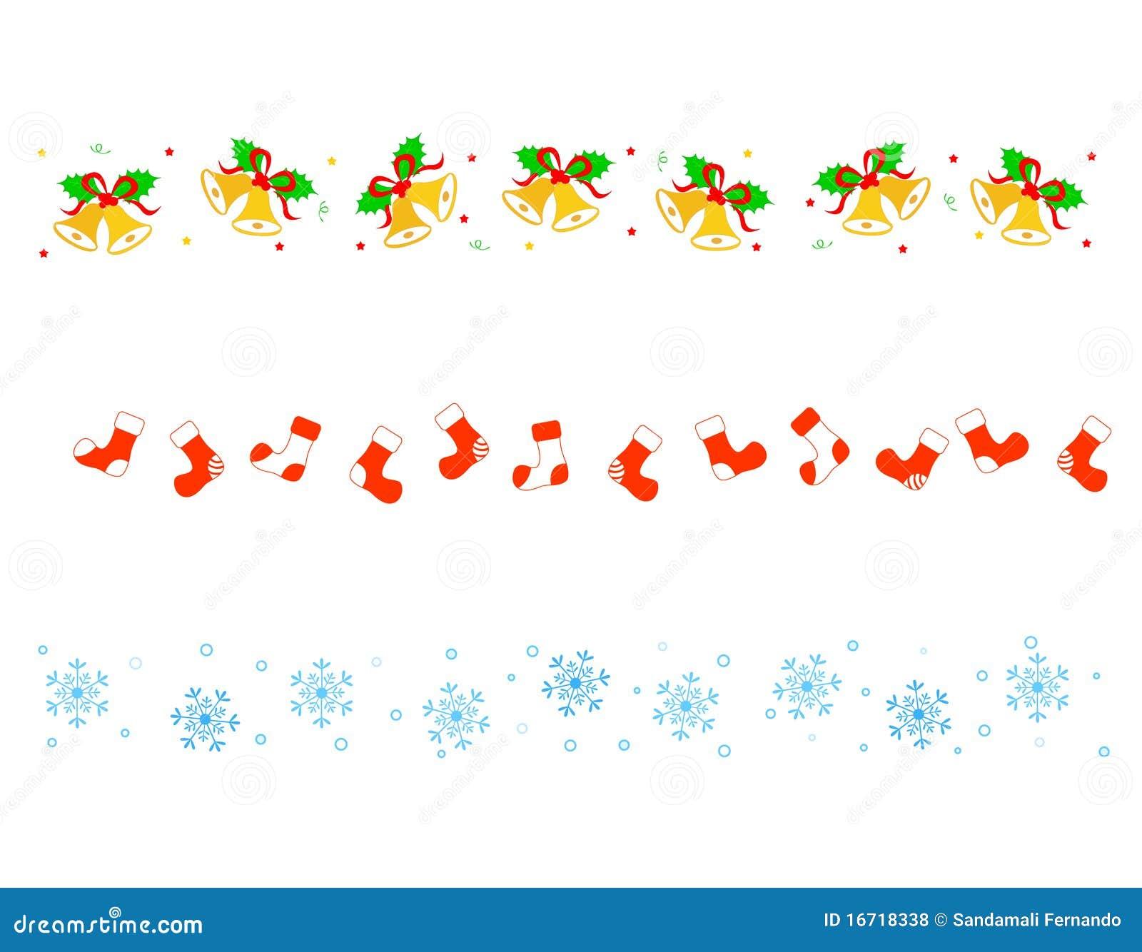 ... bells, socks and snowflakes Christmas/holiday border /divider set
