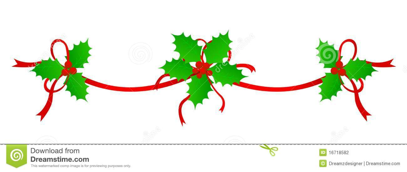 Clean Holly leaves and berries with red ribbons Christmas decoration ...