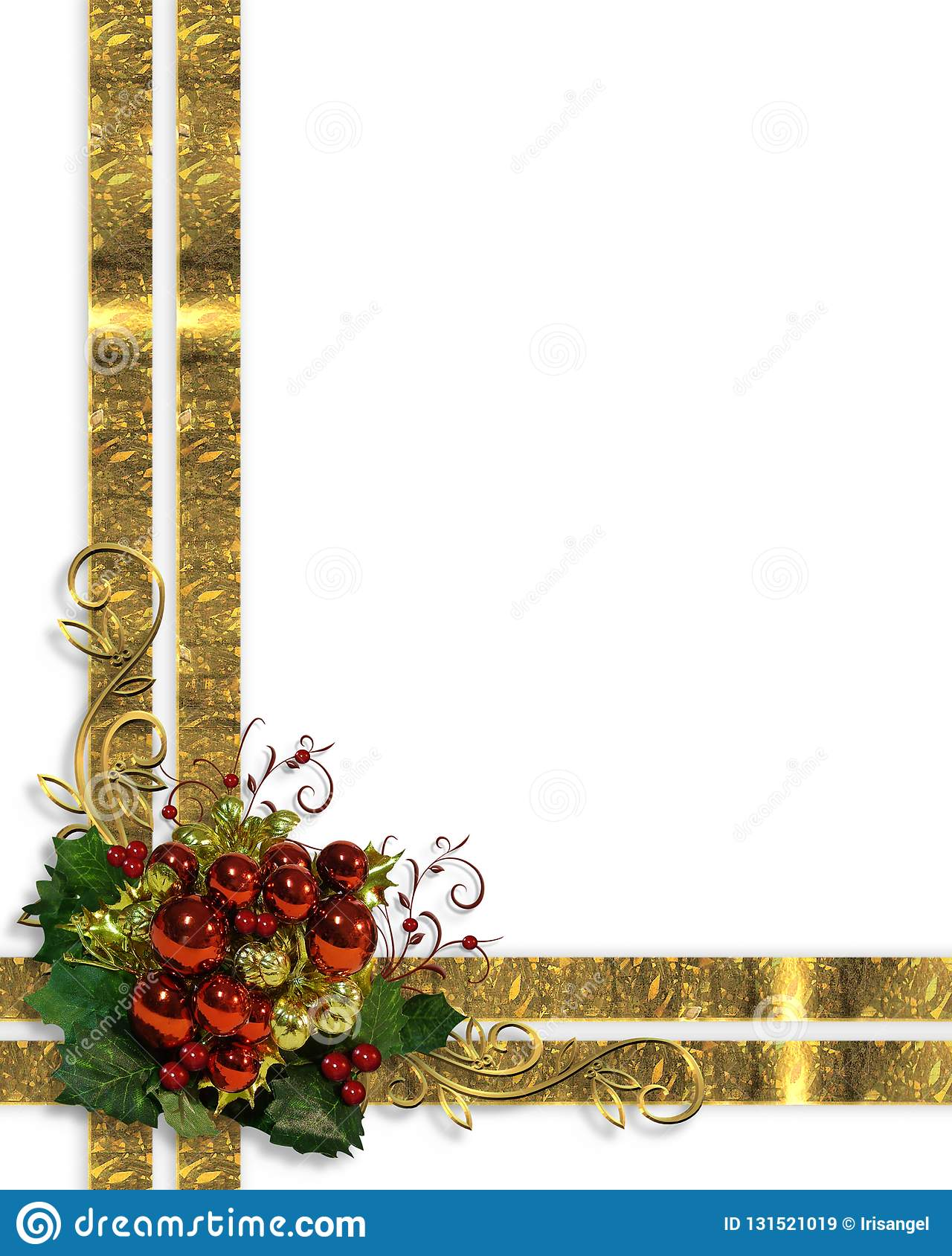 christmas border fancy ribbons and ornaments stock image
