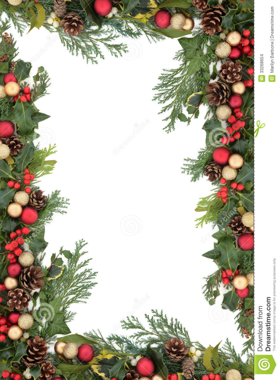 Christmas Seasonal Border Of Holly, Ivy, Mistletoe, Cedar Leaf ...