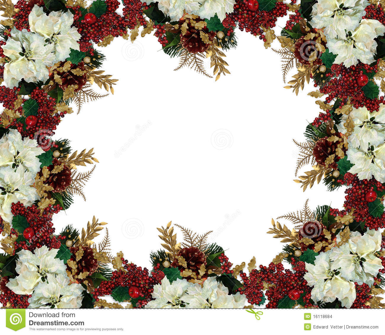 christmas border flowers stock images