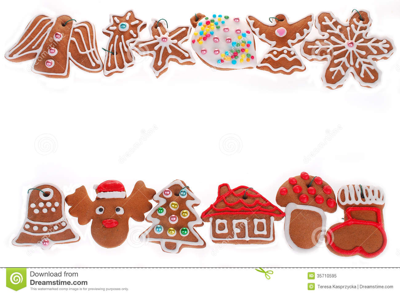 Download Christmas Border With Gingerbread Cookies Isolated On White Stock Image - Image of confection, gingerbread: 35710595
