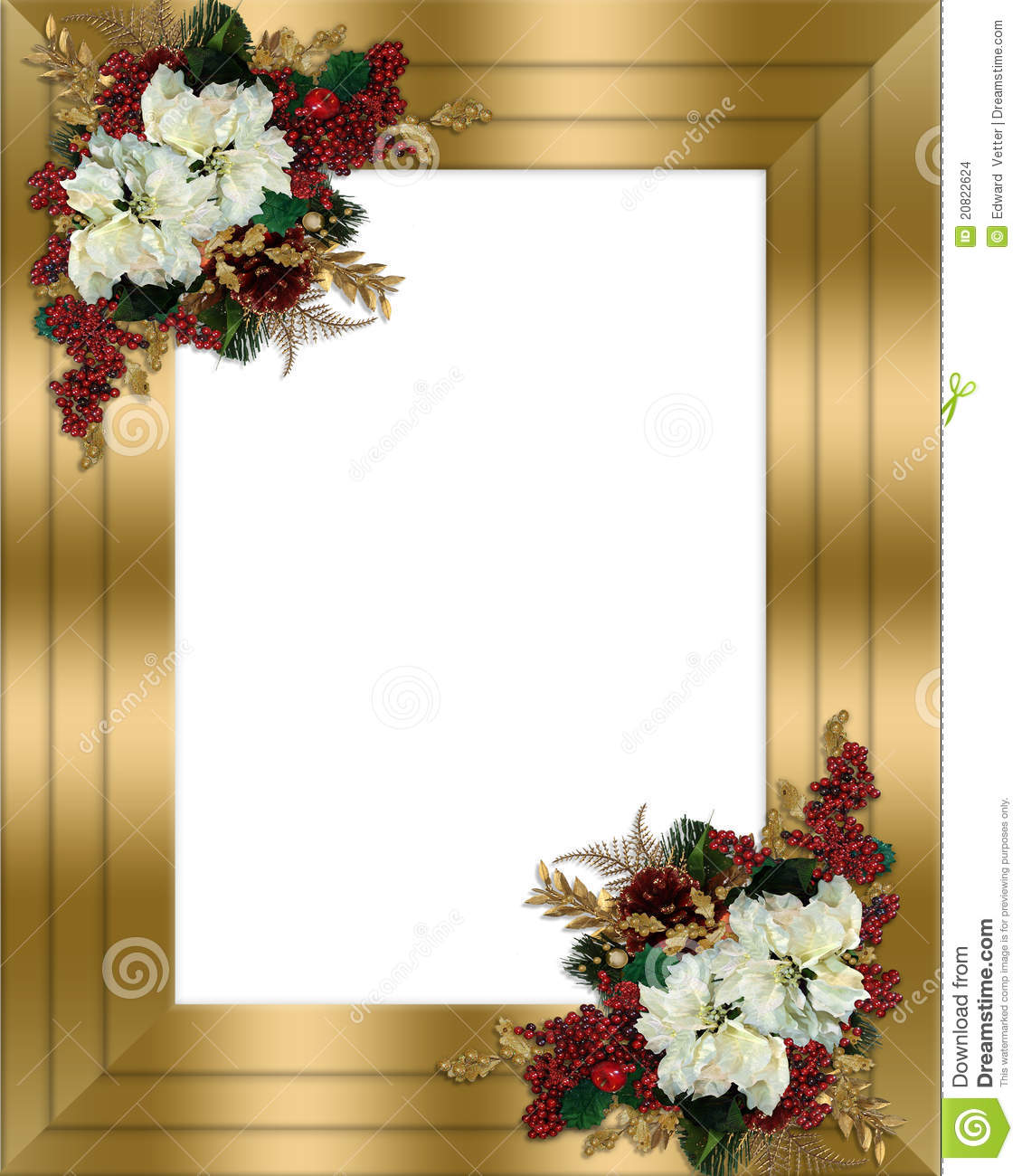 Christmas Border Gold Floral Stock Images - Image: 20822624