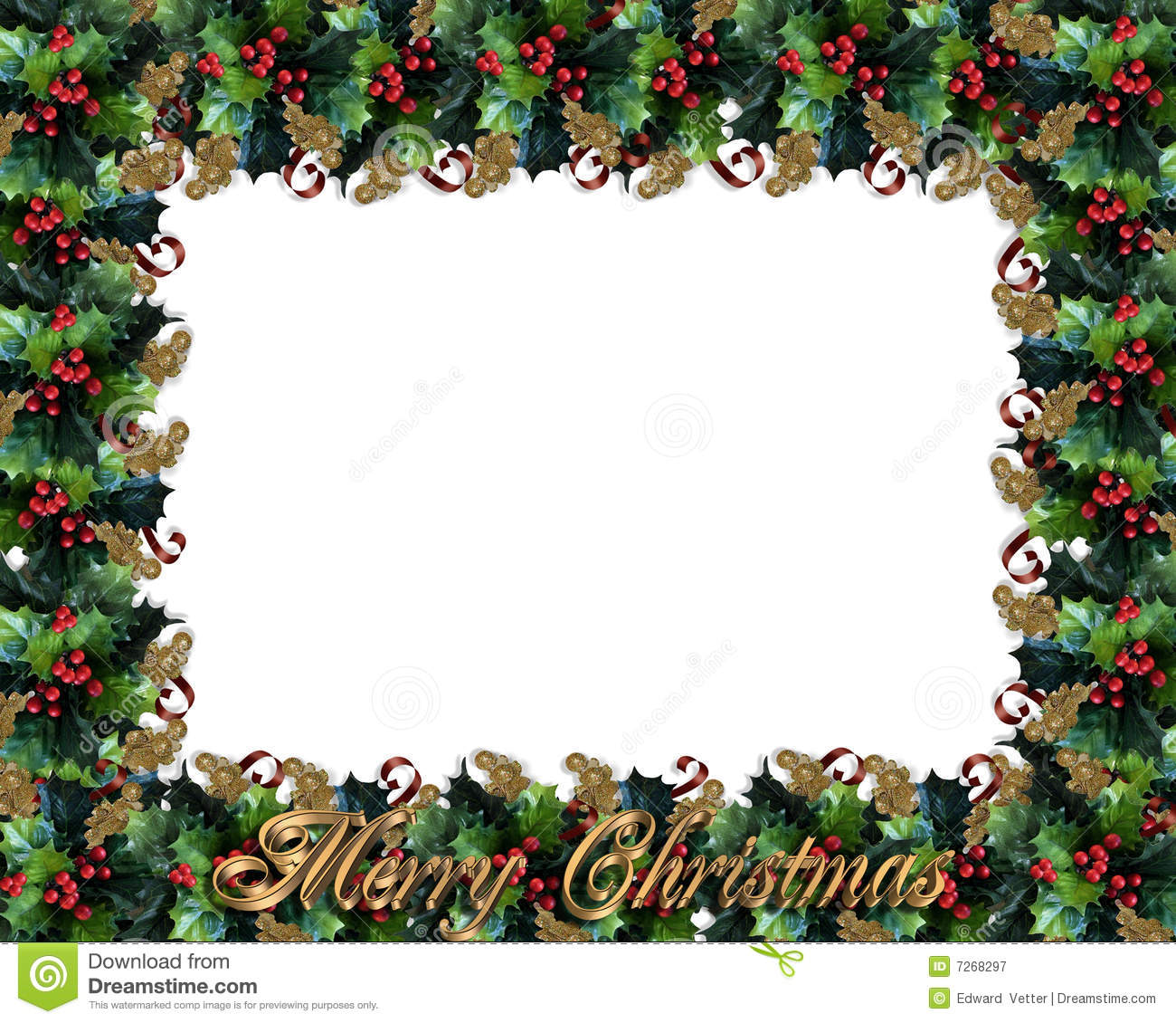 Christmas design holly leaves for greeting card invitation, border or ...