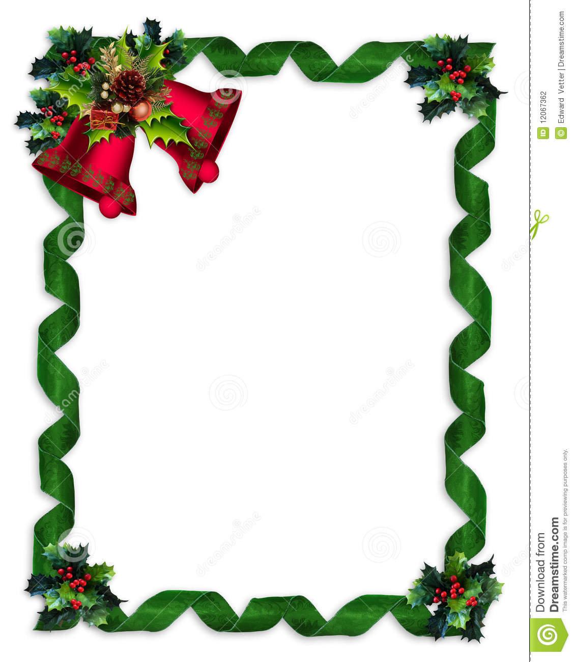 Christmas Border Holly, Bells, And Ribbons Stock Photography - Image ...