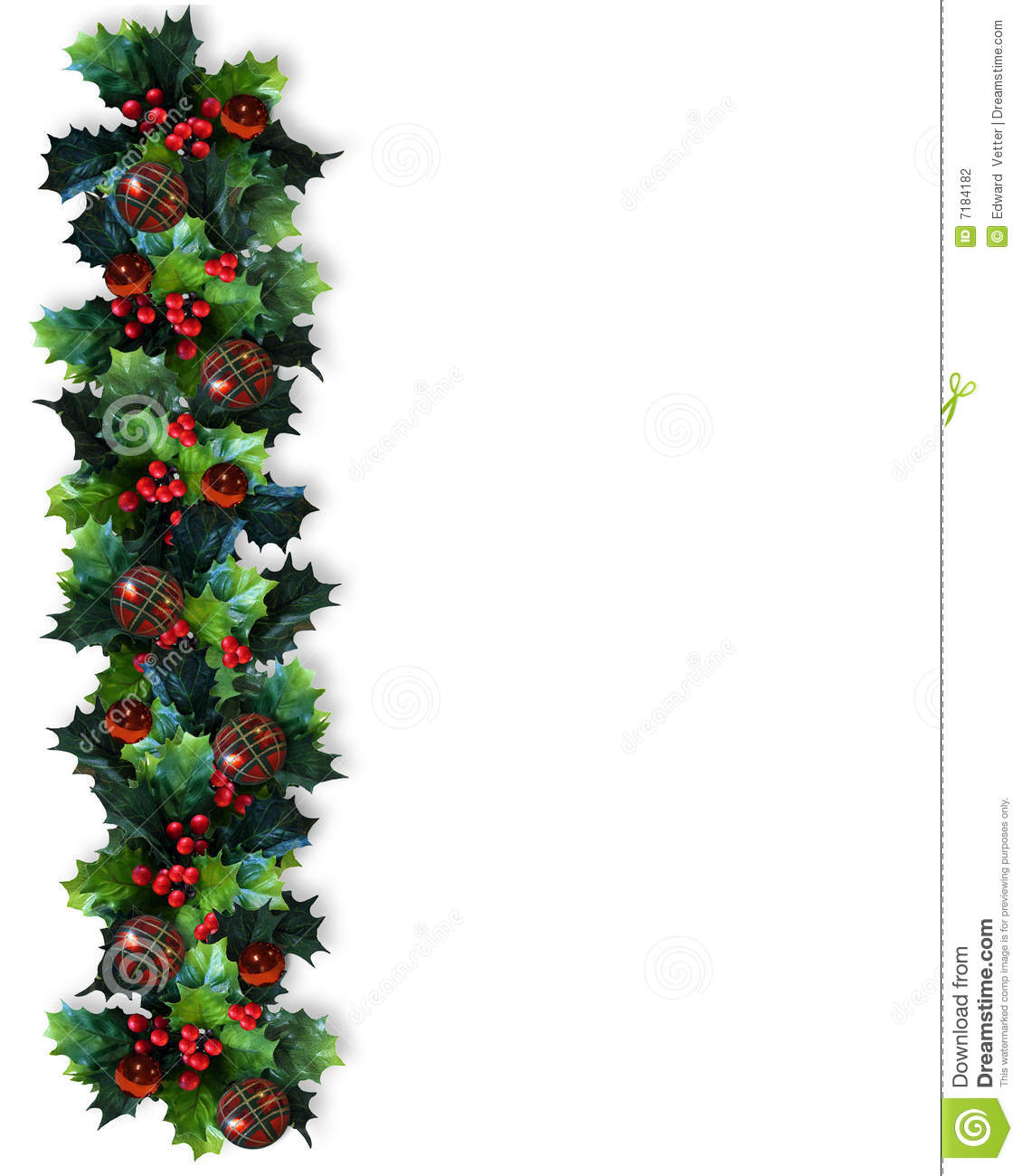 christmas border holly garland stock illustration. Black Bedroom Furniture Sets. Home Design Ideas