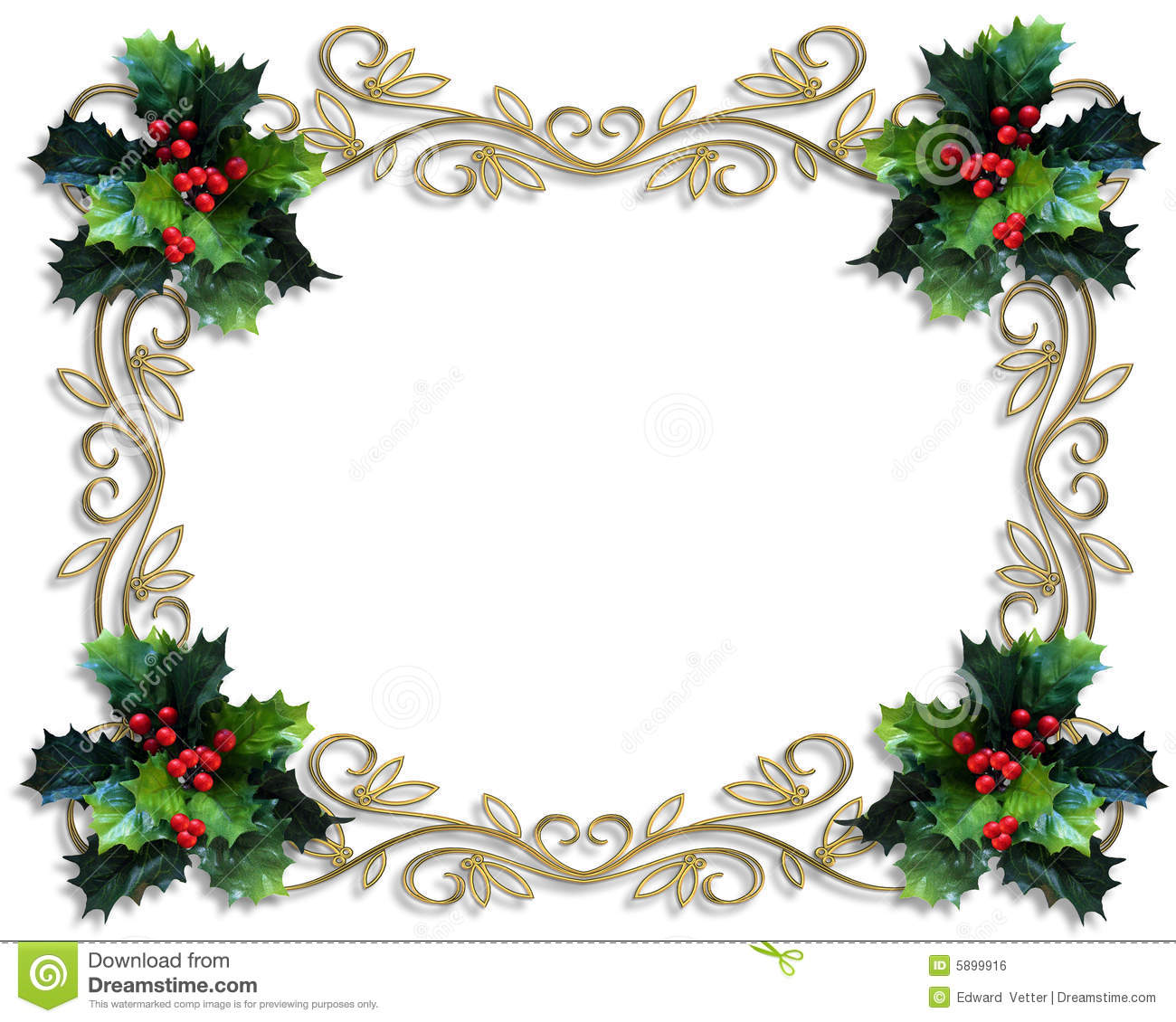 Free Christmas Borders.Christmas Border Holly Gold Frame Stock Illustration