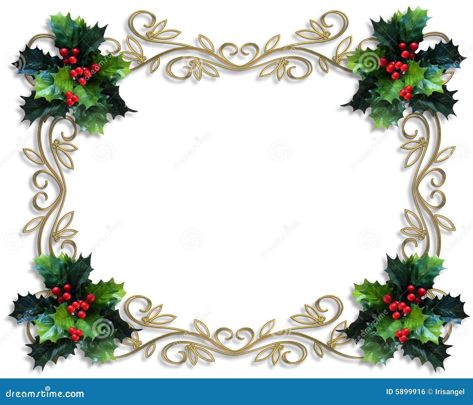 Christmas Holly Border Free Clip Art Christmas border holly gold