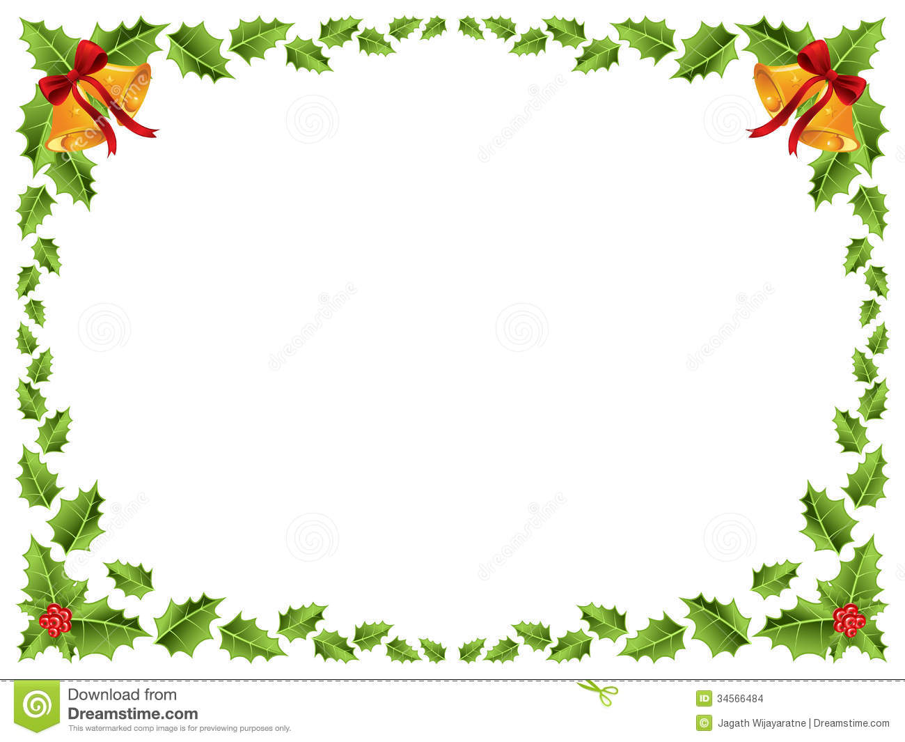 Christmas Border Holly Leaves Stock Vector Image 34566484