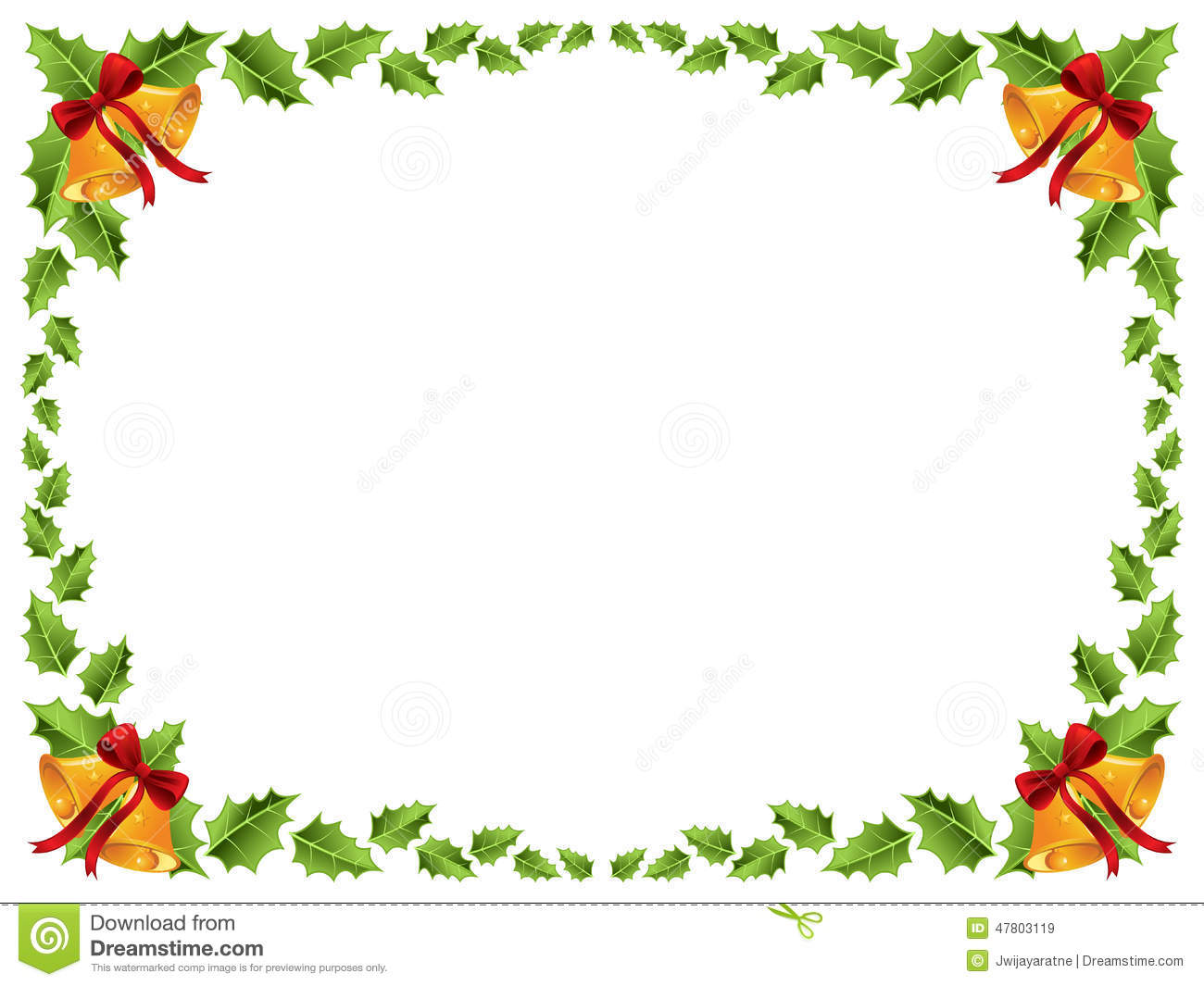 Christmas Border Holly Leaves