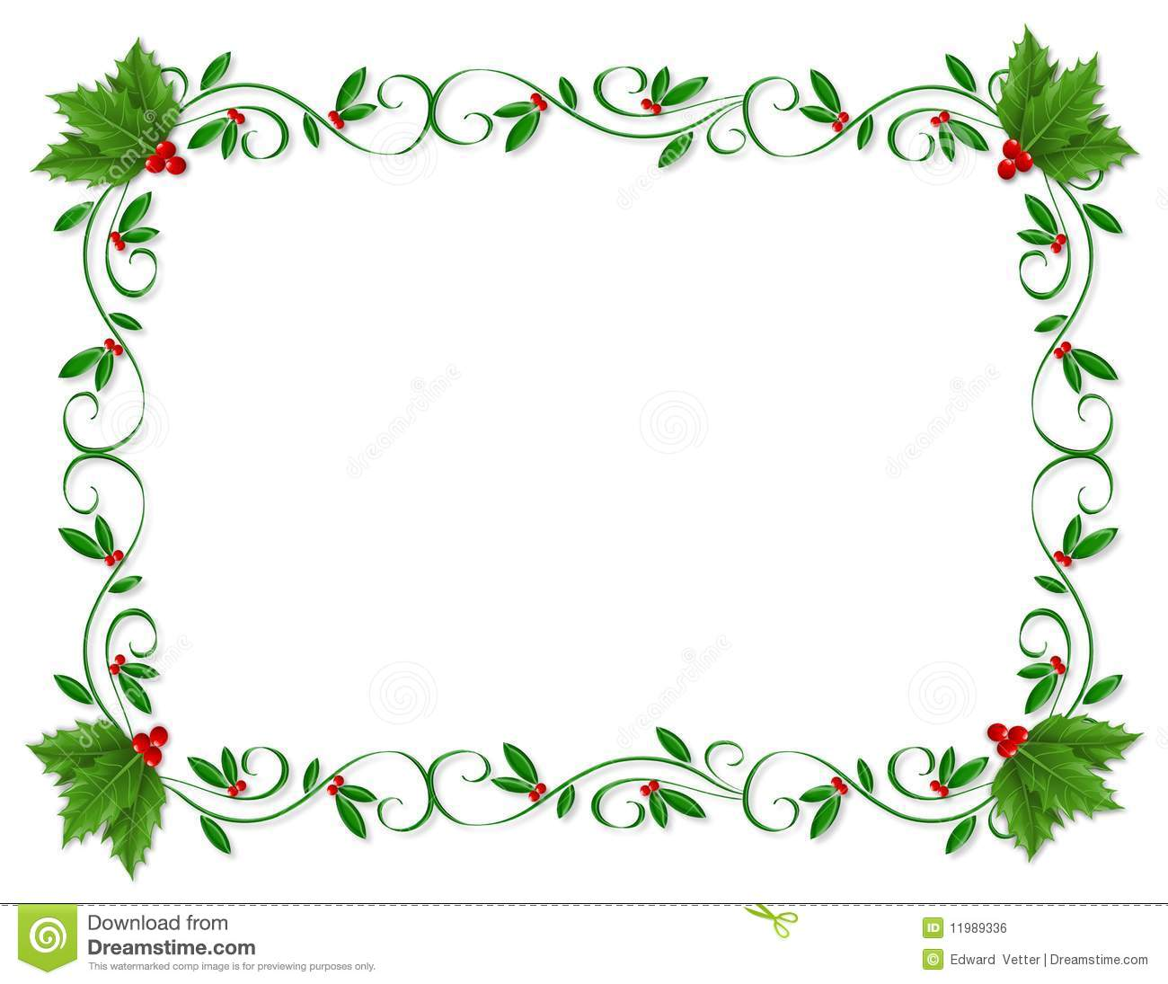 christmas design element for greeting card border holiday invitation frame or ornamental border with decorative holly with copy space
