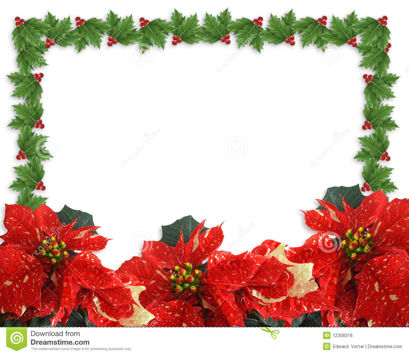 Christmas Border Holly And Poinsettias Royalty Free Stock Image ...