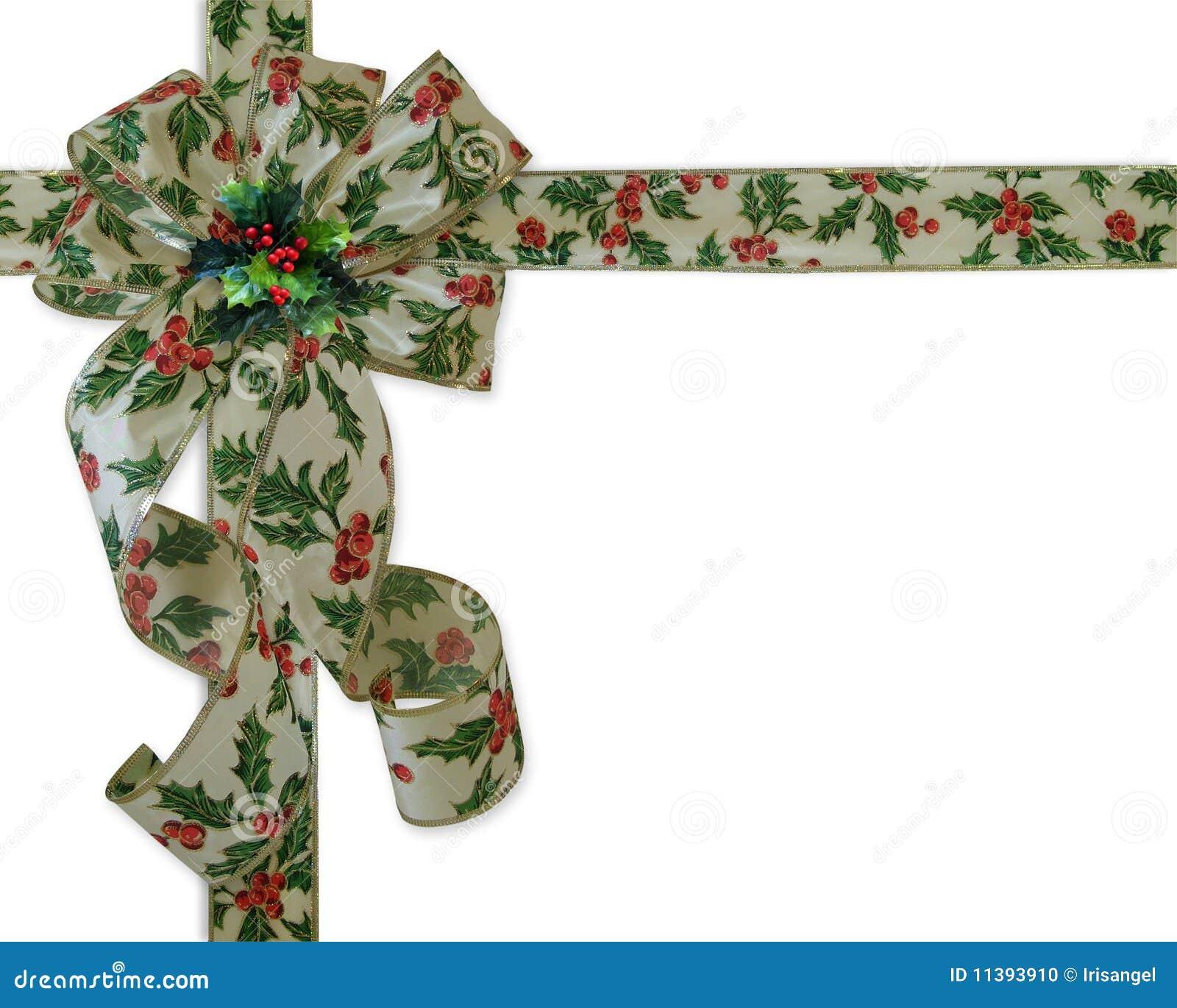 Christmas border holly ribbon and bow stock photo image
