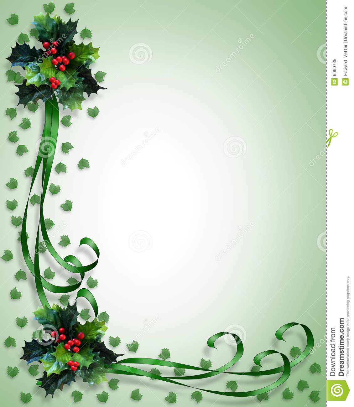 christmas border holly and ribbons - Christmas Borders Free