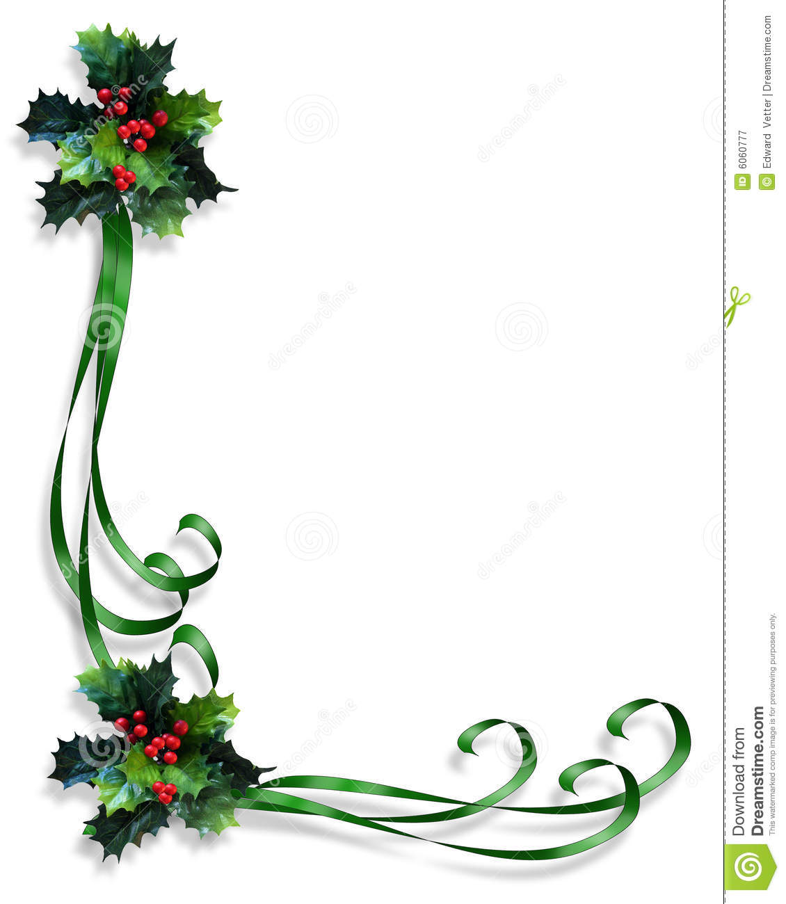 Christmas Border Holly And Ribbons Stock Illustration - Illustration ...
