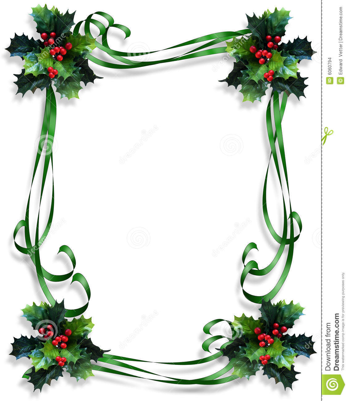 Christmas border holly and ribbons frame stock