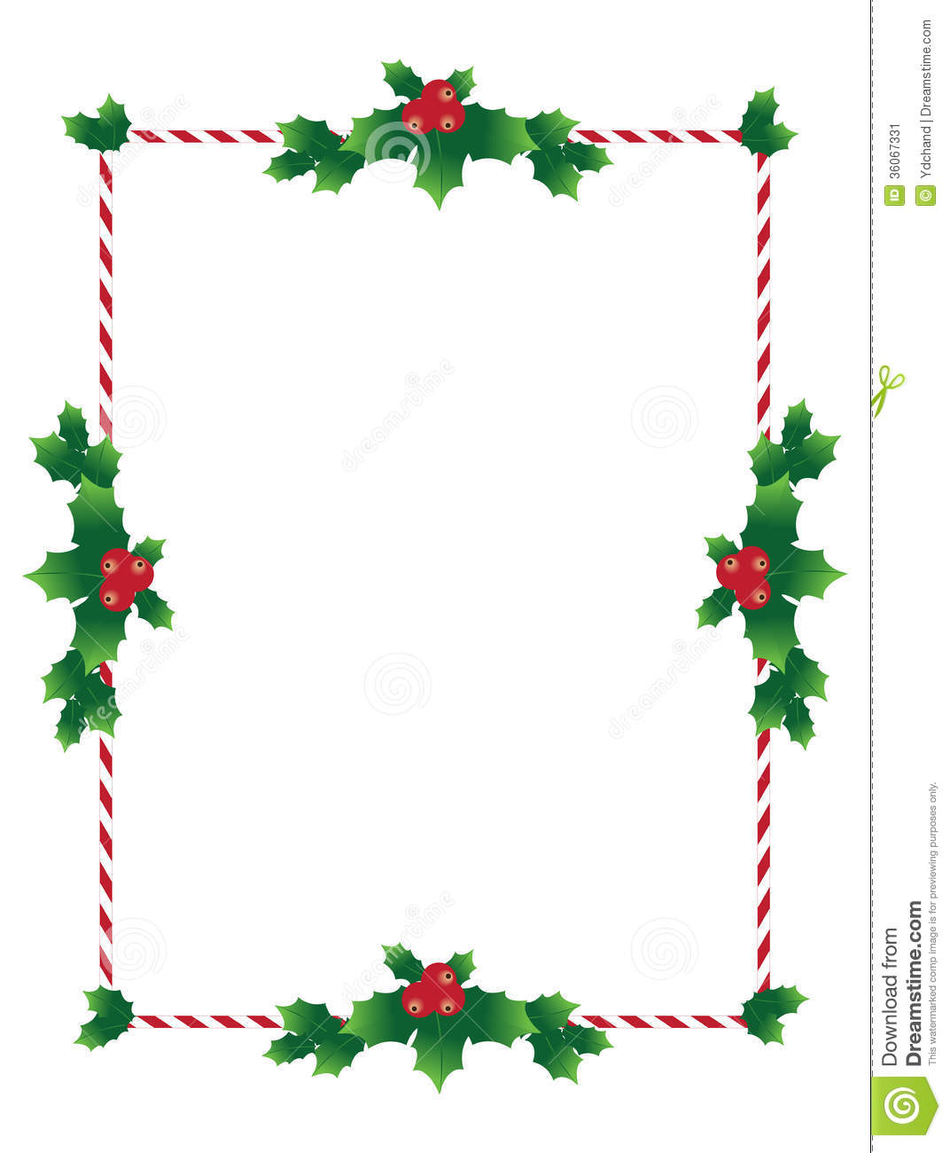 Christmas Border With Holy Leaves Stock Image Image